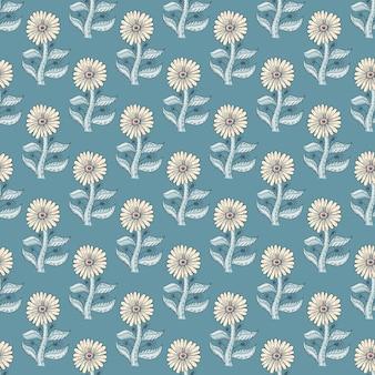 Motivo decorativo senza cuciture con girasoli in stile semplice