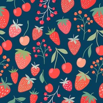 Motivo decorativo senza soluzione di continuità con fragole, ciliegie e ribes Vettore Premium