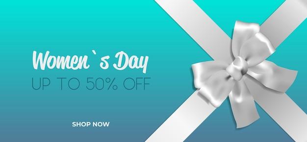Fiocco decorativo in argento con nastro womens giorno 8 marzo vacanza vendita offerta speciale concetto biglietto di auguri poster o flyer illustrazione orizzontale