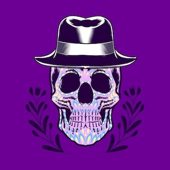 Teschio decorativo testa di cowboy giorno dei morti messico illustrazione