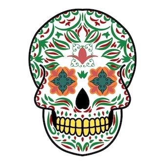 Testa di teschio decorativo giorno dei morti messico illustrazione