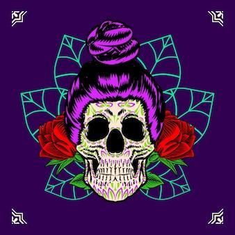 Illustrazione decorativa del messico del giorno dei morti con la testa del teschio