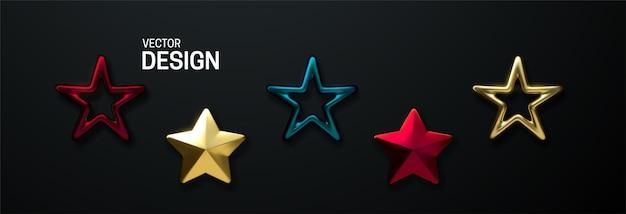 Set di stelle decorative isolato su sfondo bianco.