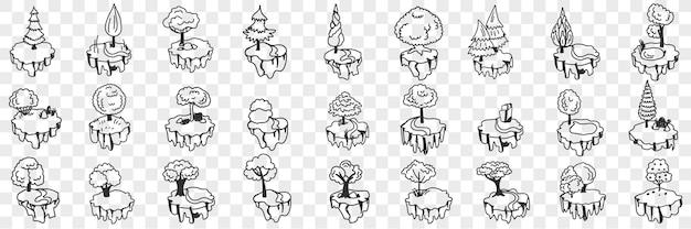 Insieme di doodle di alberi e piante decorativi. raccolta di varie decorazioni disegnate a mano per alberi e piante interni domestici su forme e su supporti isolati su sfondo trasparente
