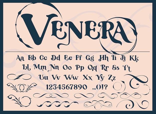 Un carattere decorativo con monogrammi e motivi vintage. perfetto per il marchio, di inviti, cartoline, stampa loghi, negozi e molti altri usi. vettore