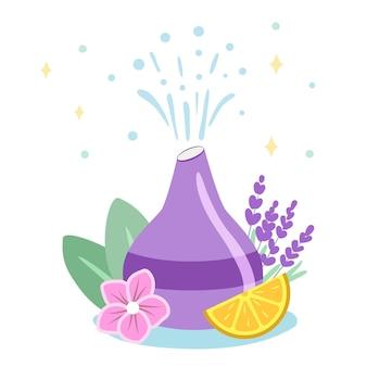 Diffusore decorativo ad ultrasuoni per la casa e fiori di lavanda per la meditazione e la freschezza aromaterapia