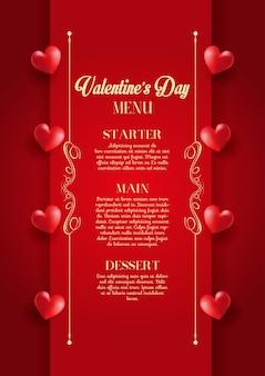 Disegno decorativo del menu di san valentino