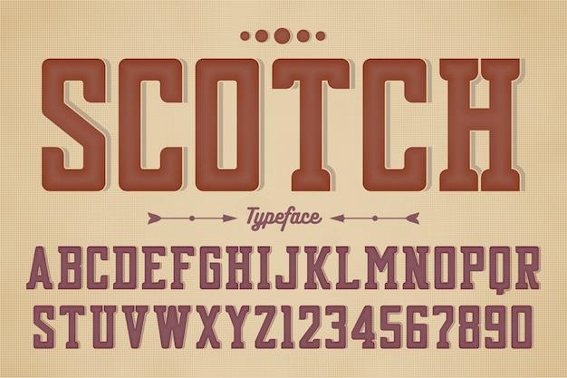 Carattere tipografico vintage decorativo vettoriale retrò, font, lettere dell'alfabeto