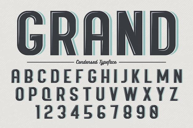 Carattere tipografico vintage decorativo vettoriale retrò