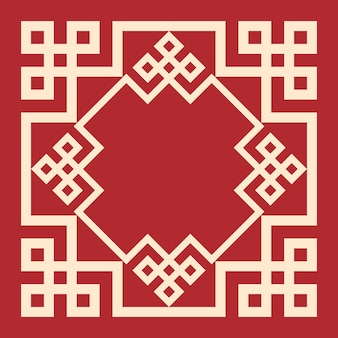 Design decorativo vintage cornice orientale su sfondo rosso