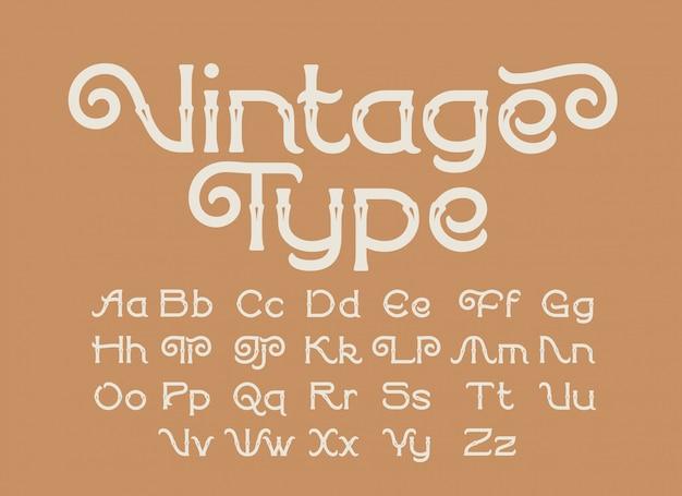 Set di caratteri decorativi in stile vintage Vettore Premium