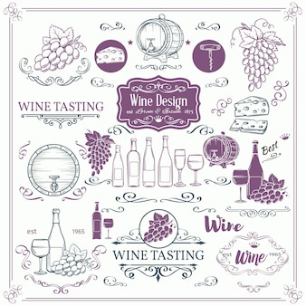 Icone decorative del vino d'annata. inchiostro vintage per enoteca. elementi di vino e calligrafia turbinano per le etichette di vino brochure brochure.