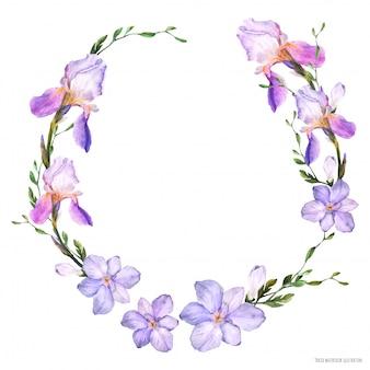 Corona decorativa dell'acquerello con fiori di iris e fresia