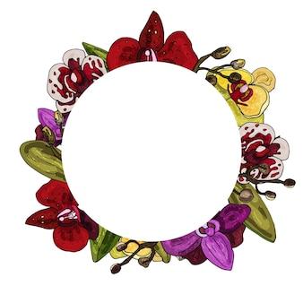 Corona decorativa di orchidea invito delicato biglietto di auguri per matrimonio e compleanno copia spazio