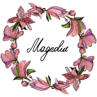 Ghirlanda decorativa di magnolie rosa invito delicato biglietto di auguri per matrimonio e compleanno