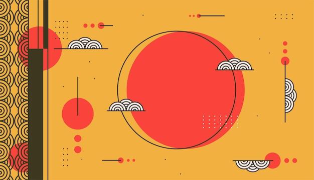 Vettore di sfondo decorativo di colore giallo e rosso con modello di design in stile giapponese
