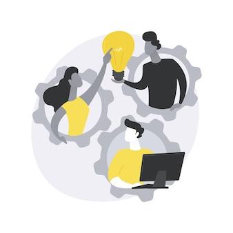 Illustrazione di concetto astratto di squadra dedicata.