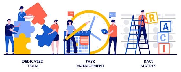 Team dedicato, gestione delle attività, concetto di matrice raci con persone minuscole. insieme dell'illustrazione dell'estratto di gestione del team di sviluppatori. piattaforma online di produttività, metafora del grafico delle responsabilità.