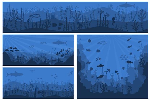 Acqua blu profonda, barriera corallina e piante sottomarine con pesci.