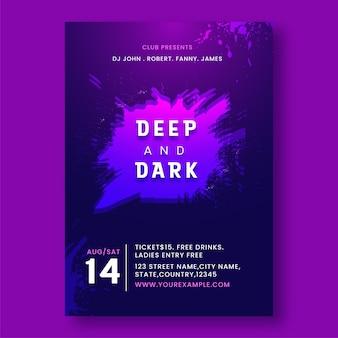 Design del modello di partito profondo e scuro con effetto pennello in colore viola.