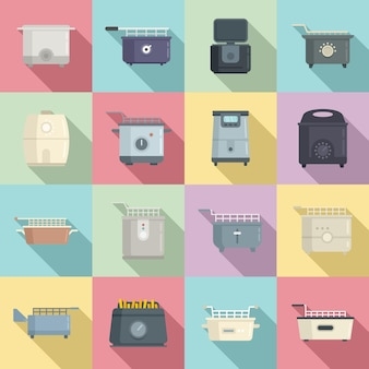 Friggitrice set di icone vettore piatto. cuocere il cibo. friggitrice elettrica