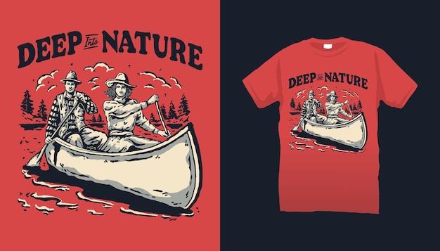 Illustrazione di canoa nel profondo della natura