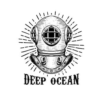 Oceano profondo. casco dell'operatore subacqueo di vecchio stile su fondo bianco.