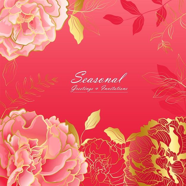 Biglietto quadrato floreale peonia rosa intenso