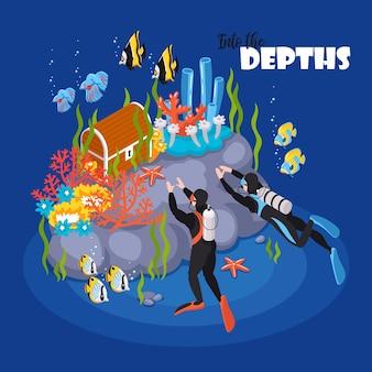 Illustrazione isometrica di avventura di immersioni subacquee profonde