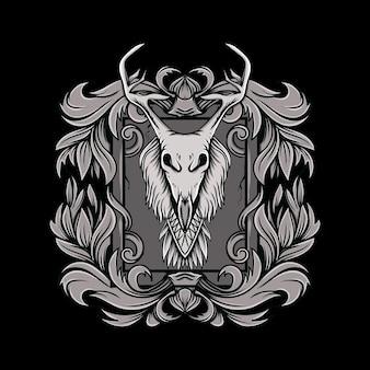 Teschio di testa di corno di cervo con illustrazione di ornamento floreale in stile bianco e nero