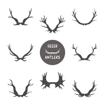 Set di illustrazione di corna di cervo