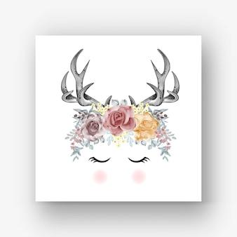 Illustrazione dell'acquerello marrone rossiccio di corna di cervo rosa arancione