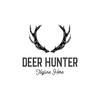 Illustrazione di design del logo vettoriale di corna di cervo