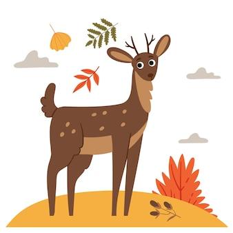 Cervo nella calura autunnaleillustrazione del libro foresta d'autunnocaduta sul prato