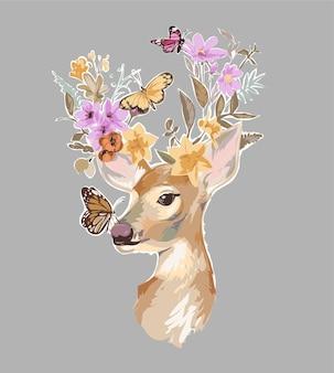 Illustrazione di cervi e fiori colorati e farfalle