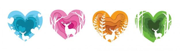 Illustrazione di carta tagliata cervi