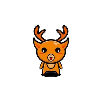 Logo della mascotte del design del personaggio d'arte carino dei cervi