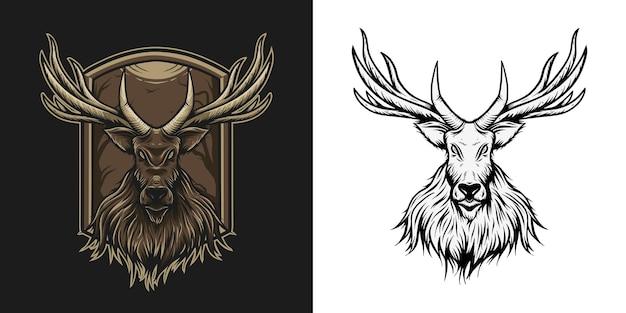 Cervo nel design illustratios della foresta stregata