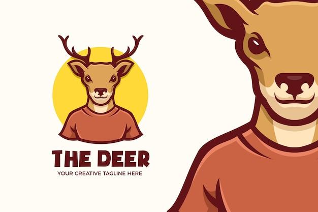 Modello di logo del personaggio mascotte animale testa di cervo