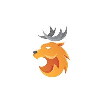 Logo di corna di testa di cervo