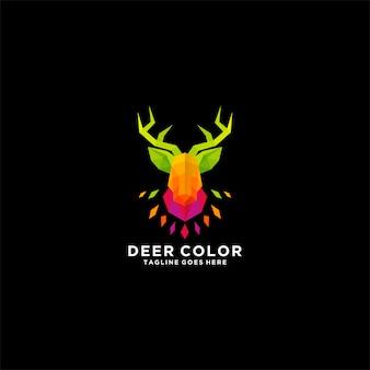Logo dell'illustrazione di colore della testa dei cervi.
