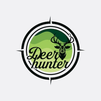 Design della testa di cervo in stile vintage per club di caccia al cervo, illustrazione vettoriale vintage del logo del cacciatore di cervi