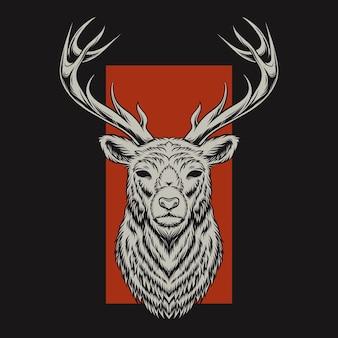 Illustrazione di testa di cervo con sfondo rosso