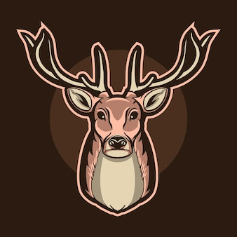 Illustrazione di logo della testa dei cervi isolata sulla mascotte scura