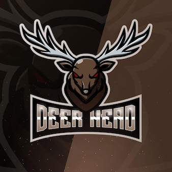 Illustrazione di esport mascotte testa di cervo