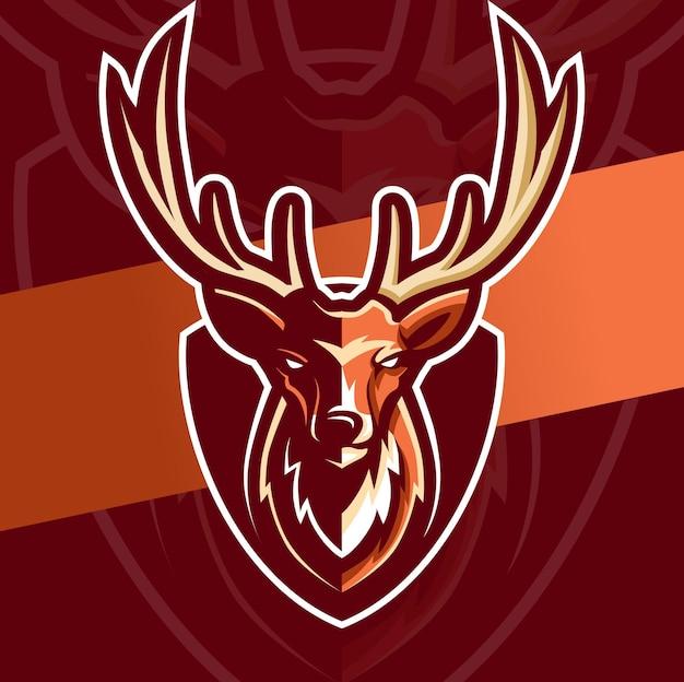 Personaggio di design logo esport mascotte testa di cervo
