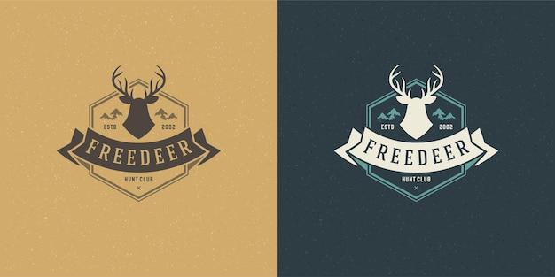 Testa di cervo con illustrazione di emblema logo corna
