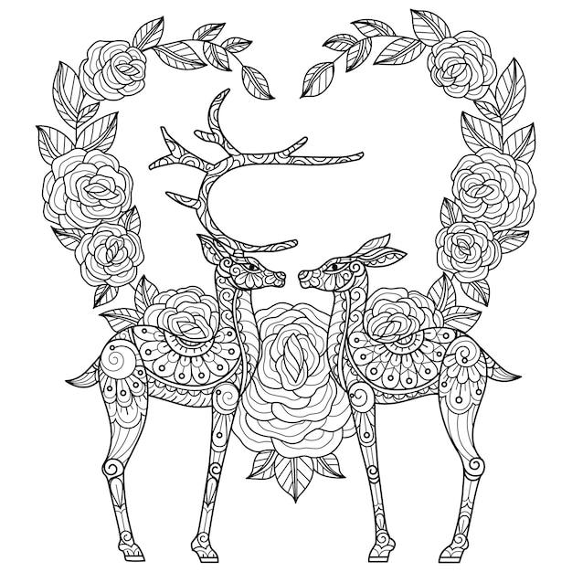 Illustrazione di schizzo disegnato a mano di cervo e cuore per libro da colorare per adulti