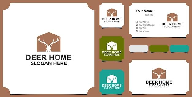 Design del logo della casa dei cervi e vettore del biglietto da visita