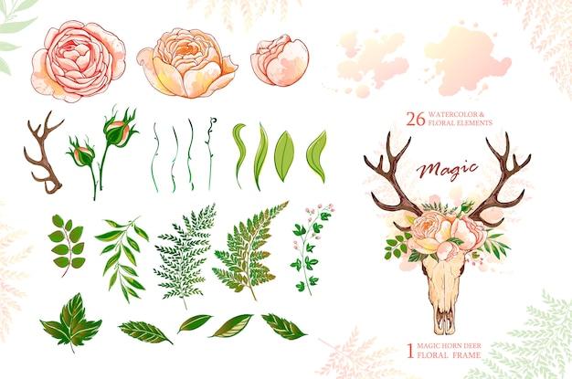 Corna di cervo e rose, elementi verdi per il design
